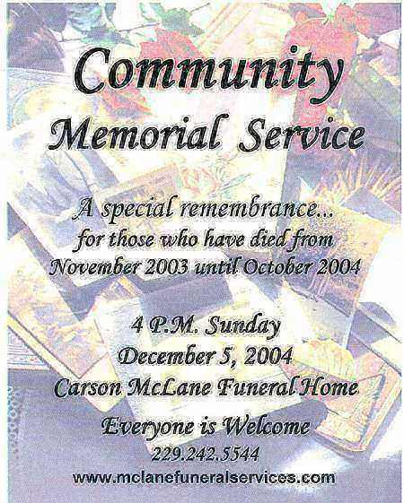 McLanes Annual Memorial Services Obituary Valdosta GA